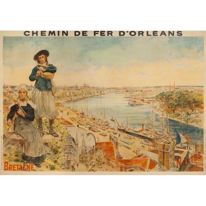 Affiche ancienne de voyage - toilpot - 1904- Bretagne-Nantes - 107 par 74 cm