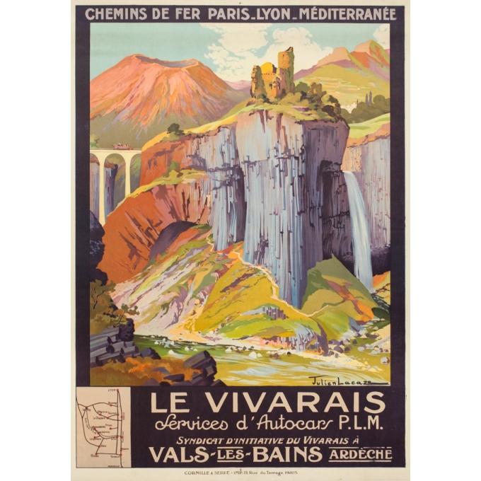 Affiche ancienne de voyage - Julien Lacaze - Circa 1920 - Le Vivarais Ardèche PLM - 106 par 76 cm
