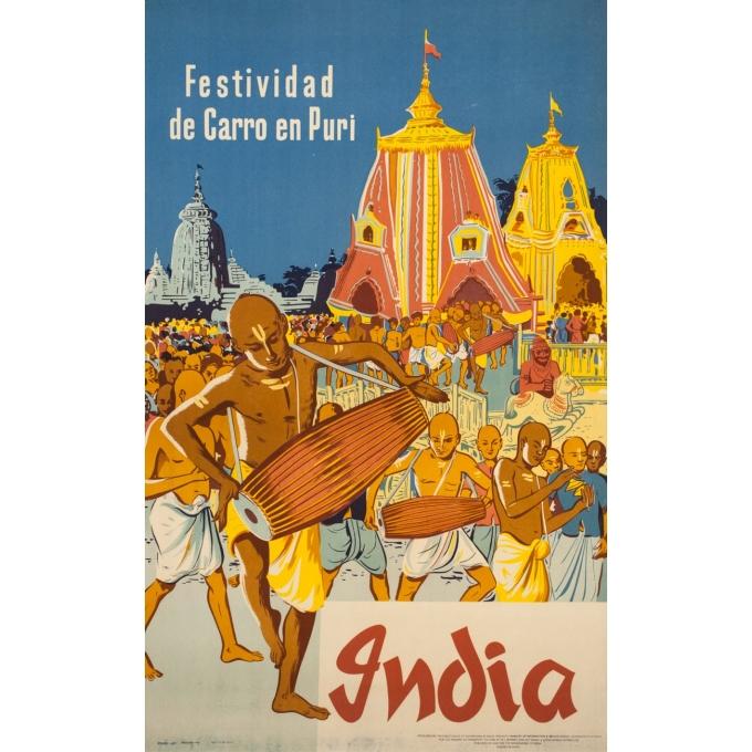 Affiche ancienne de voyage - Anonyme  - 1957 - Festival de Chars à Puri - 101 par 62.5 cm