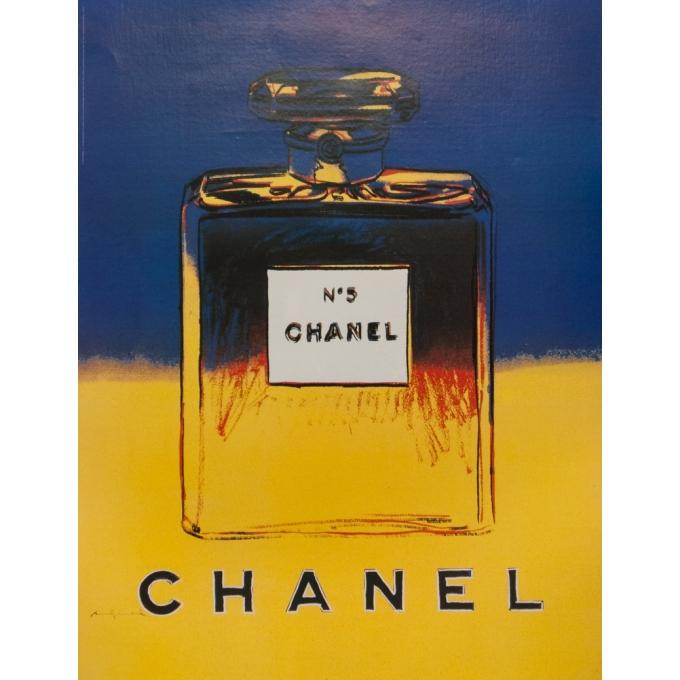Affiche originale de publicité - Andy Warhol - Chanel N°5 Andy Warhol 1997 Jaune Et Bleu - 72.5 par 56 cm