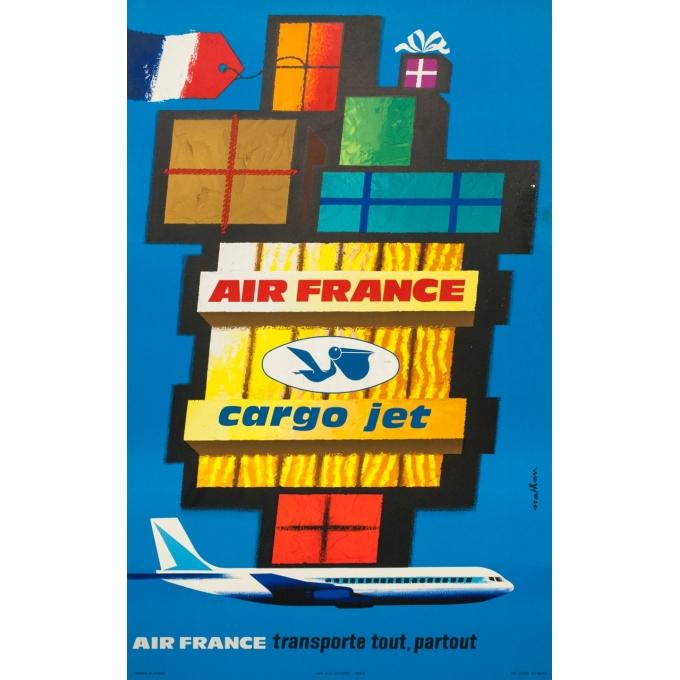 Affiche ancienne de voyage - Nathan - 1962 - Air France Cargo Jet - 99 par 62 cm