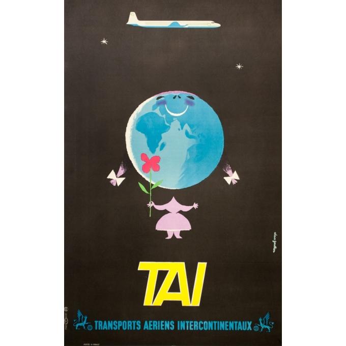 Affiche ancienne de voyage - Alain Gauthier - Circa 1955 - TAI - 98 par 62 cm