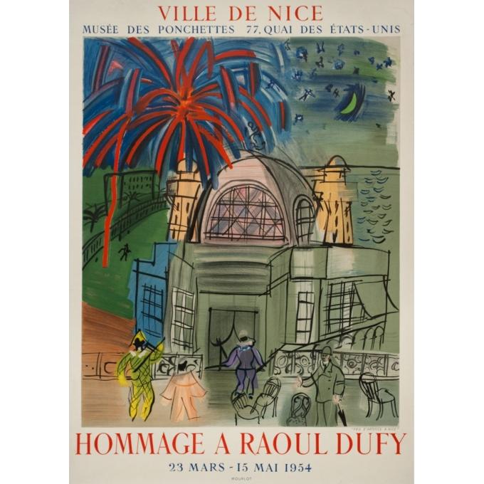 Vintage exhibition poster - Raoul Dufy - 1954 - Exposition Hommage Ville De Nice Feu D'Artifice - 27.6 by 19.3 inches