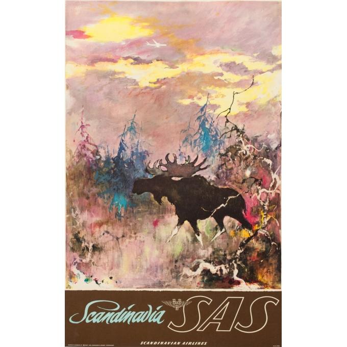 Affiche ancienne de voyage - SAS - Nielsen - 1965 - Elan - 100 par 63.5 cm