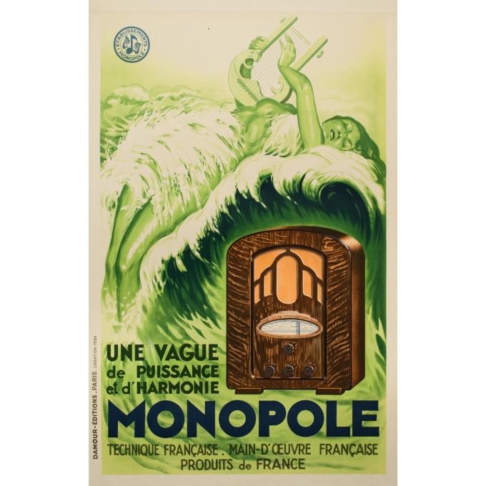 Affiche ancienne de publicité - Damour editions - 1934 - Radio Monopole - 123 par 78 cm