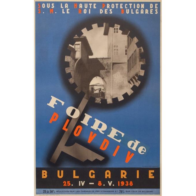 Affiche ancienne d'exposition - Foire de Plovdiv - Yvan Penkoff - 1938 - 95 par 62 cm