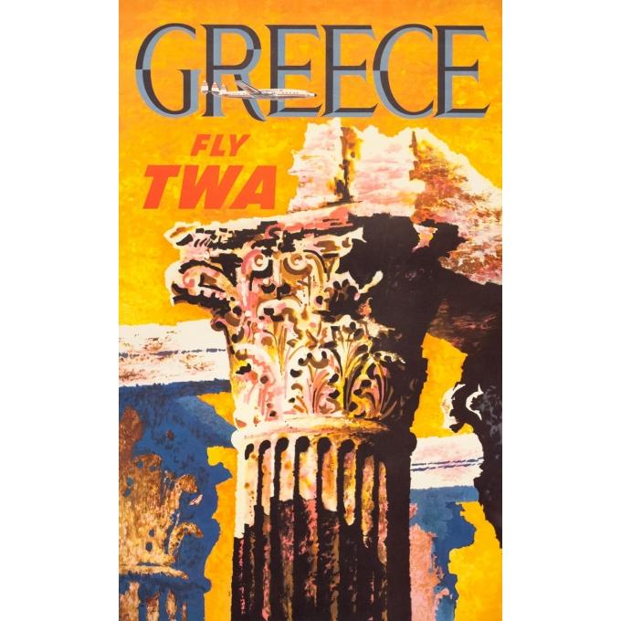 Affiche ancienne de voyage - David   - Circa 1960 - TWA Greece Grèce  - 101.5 par 63.5 cm