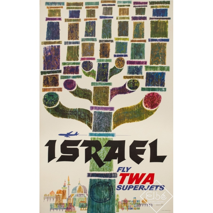 Affiche ancienne de voyage - David Klein - Circa 1960 - Israël TWA - 101 par 63.5 cm