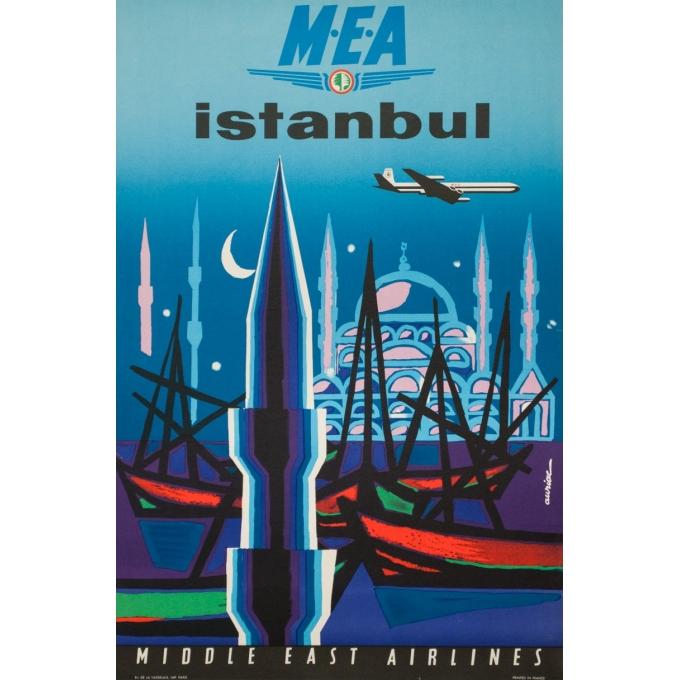 Affiche ancienne de voyage - Auriac - Circa 1960  - Istanbul Middle East Air Lines MEA - 80 par 53 cm