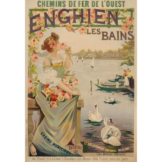 Affiche ancienne de voyage - Raymond Tournon - Circa 1900 - Enghien Les Bains Chemins de Fer de L'Ouest - 106 par 73 cm