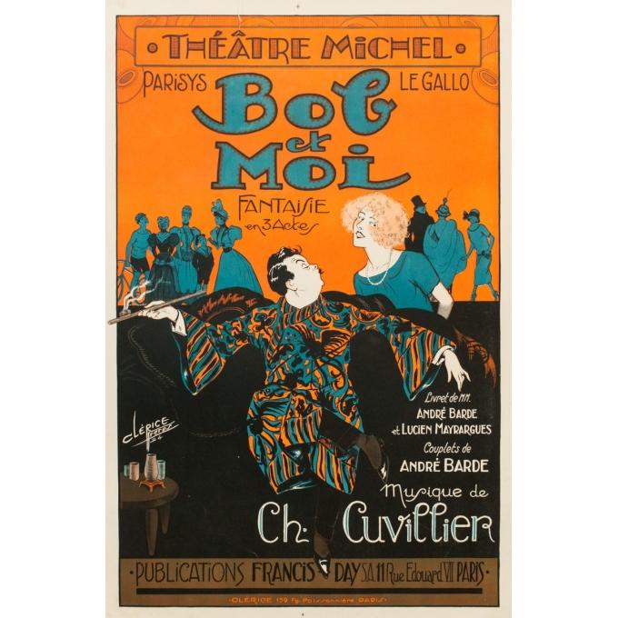 Affiche ancienne spectacle - Bob et Moi - Clérice Frères 1924 - 119 par 78.5 cm