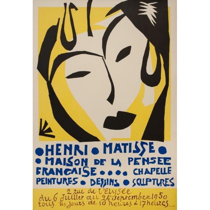 Affiche ancienne d'exposition - Henri Matisse - 1950 - Exposition Maison De La Pensée Française - 80 par 52.5 cm