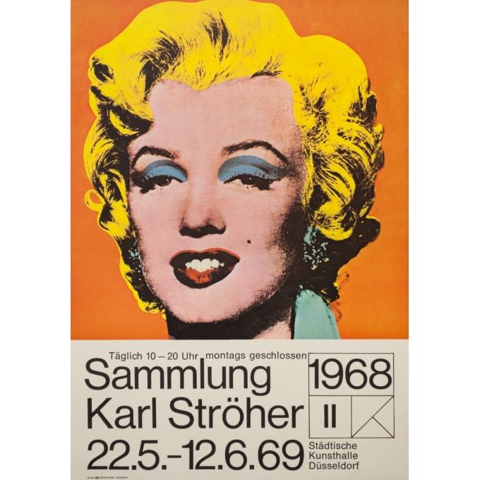Affiche ancienne d'exposition - Andy Warhol - 1968 - Marylin Monroe Pop Art 1968 1969 - 84 par 63 cm