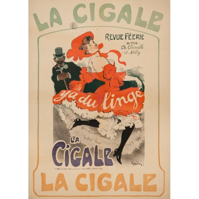 Affiche ancienne originale - GRÜN - 1904 - La Cigale Revue De Féerie Y'A Du Linge - 82 par 58.1 cm