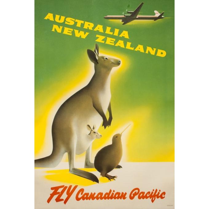 Affiche ancienne de voyage - Anonyme - Circa 1950 - Australia New Zeland Fly Canadian Pacific - 90 par 61 cm