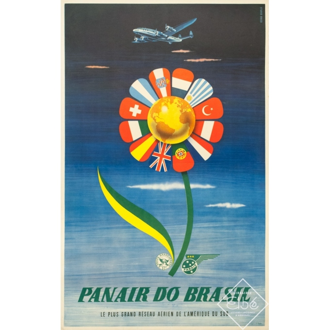 Affiche ancienne de voyage - S. Paulo - Circa 1955 - Panair Brasil Brésil - 101 par 63 cm