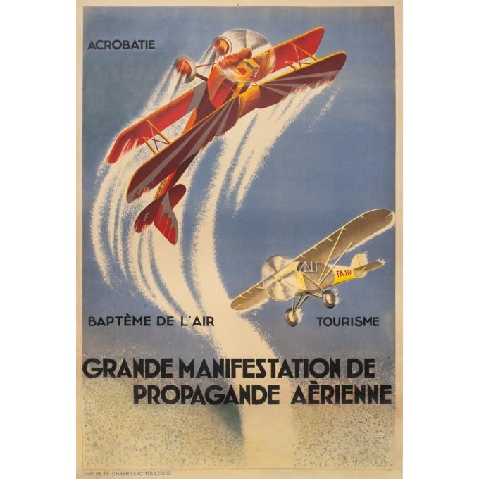 Affiche ancienne d'exposition - d'après Geo Ham - Circa 1930 - Grande Manifestation De Propagande Aérienne - 130 par 88 cm
