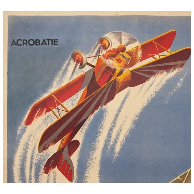 Affiche ancienne d'exposition - d'après Geo Ham - Circa 1930 - Grande Manifestation De Propagande Aérienne - 130 par 88 cm - 2