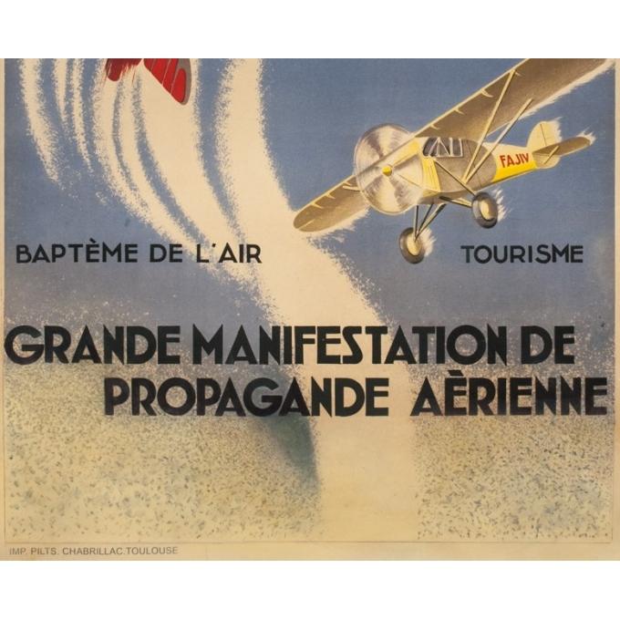 Affiche ancienne d'exposition - d'après Geo Ham - Circa 1930 - Grande Manifestation De Propagande Aérienne - 130 par 88 cm - 3