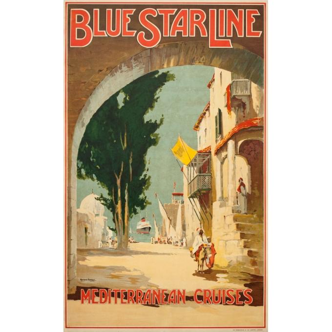 Affiche ancienne de voyage - Maurice randall - 1930- Blue Starline-mediteranean - 100 par 61 cm
