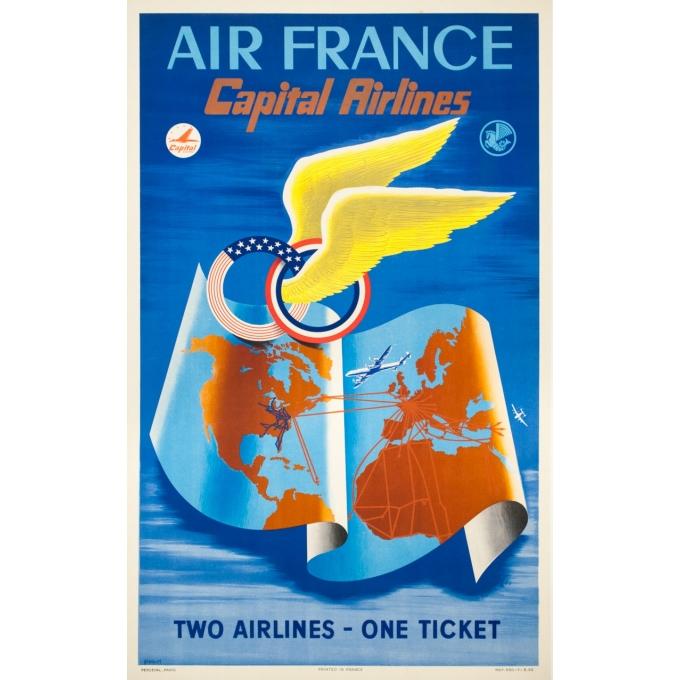 Affiche ancienne de voyage - Plaquet - 1950 - Air France Capital Airlines - 100 par 67 cm