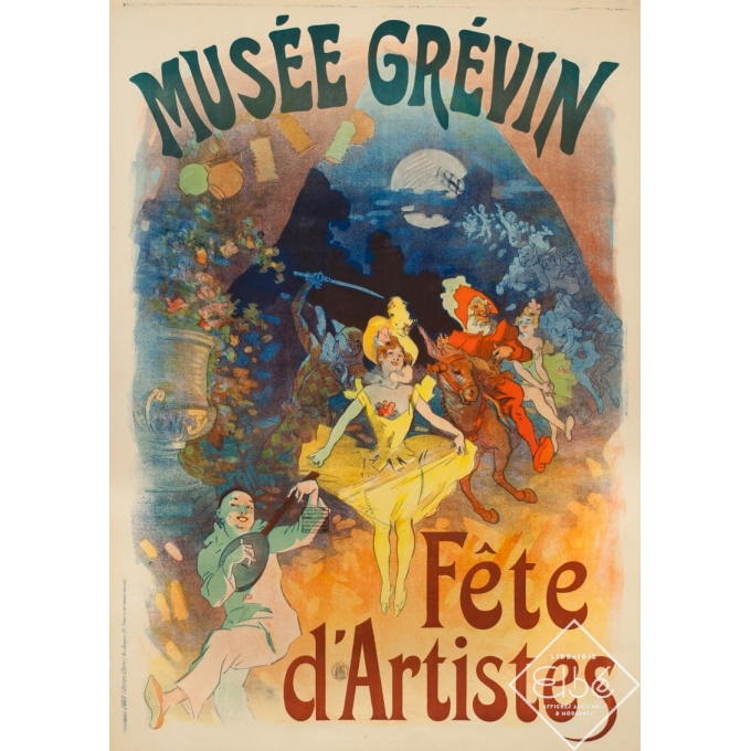 Affiche ancienne originale - Cheret - 1900 - Musée Grévin Fête D'Artistes - 125 par 89 cm