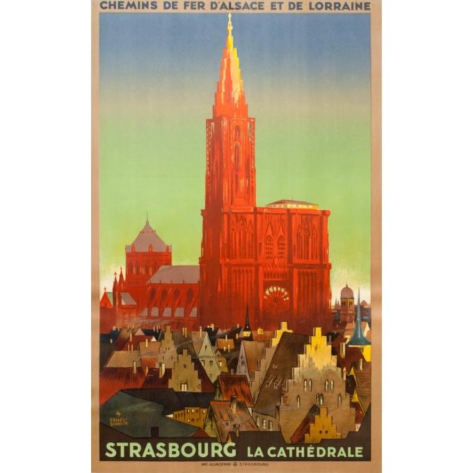 Affiche ancienne de voyage - Ernest Schmitt - Circa 1920 - Strasbourg La Cathédrale - 100.5 par 63 cm
