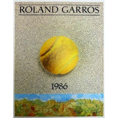 Affiche originale de Roland Garros 1986 par Jiri Kolar. Elbé Paris.