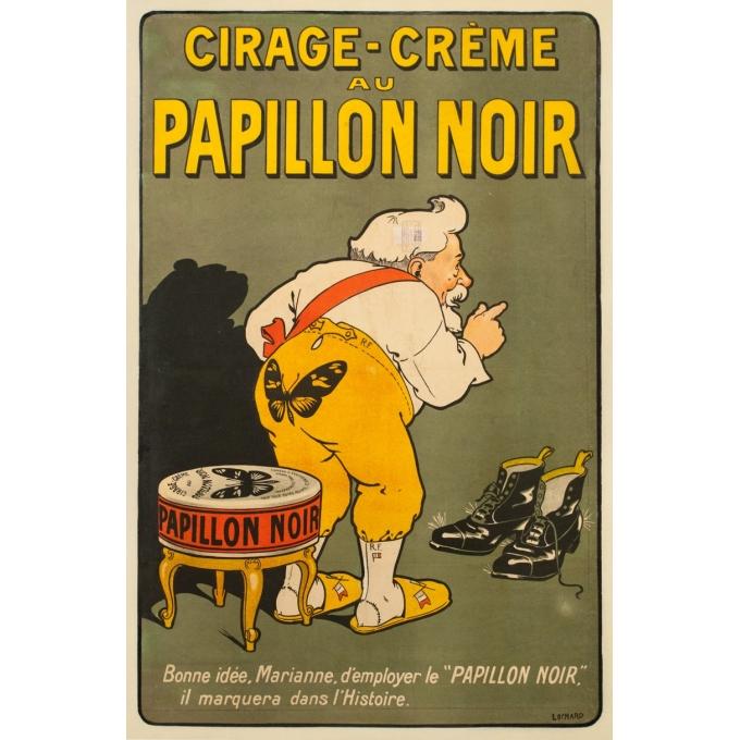 Affiche ancienne de publicité - Lochard - 1904 - Cirage Crème Papillon Noir - 116 par 76 cm