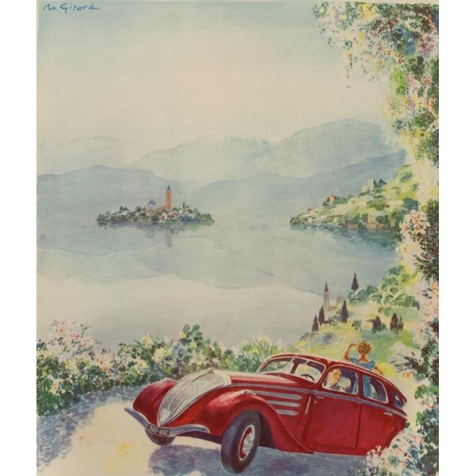 Vintage advertising poster - Antoine Girard - Circa 1950 - Tout Est Plus Beau Avec Une Peugeot - 43.7 by 29.5 inches - 2