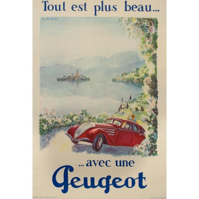 Vintage advertising poster - Antoine Girard - Circa 1950 - Tout Est Plus Beau Avec Une Peugeot - 43.7 by 29.5 inches
