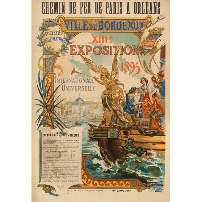 Vintage travel poster - Tamagno - 1895 - Ville De Bordeaux 13Eme Expositon Internationale Et Universelle - 42.1 by 29.1 inches