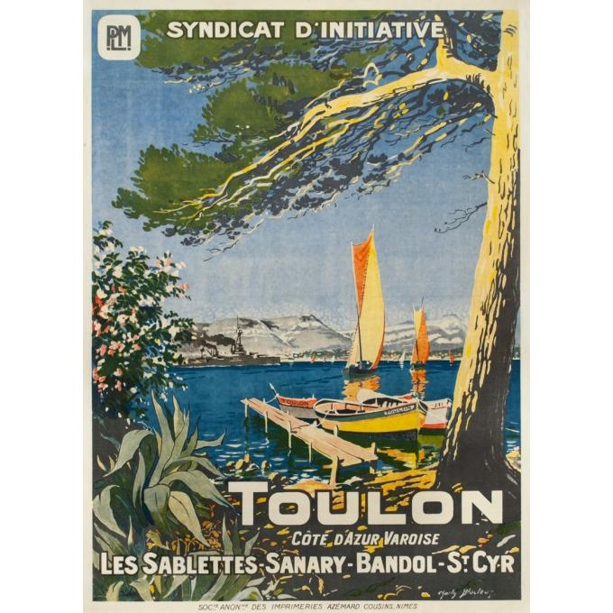 Vintage travel poster - Charli Bloctuz - Circa 1920 - Toulon Plm - 41.7 by 29.9 inches