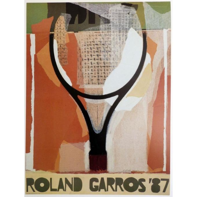 Original poster of Roland Garros 1987 by Gérard Titus-Carmel. Elbé Paris.