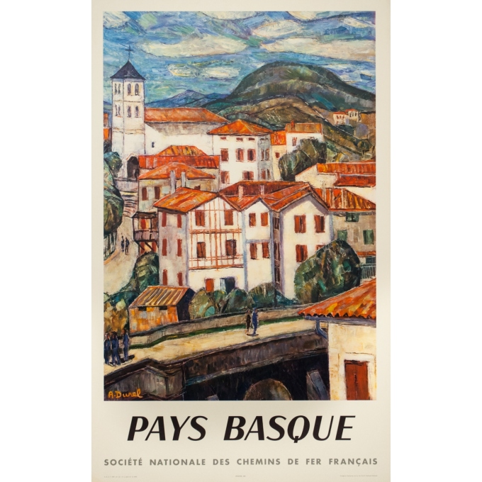Vintage travel poster - A.Durel - 1959 - Pays Basque - 39.4 by 24.6 inches