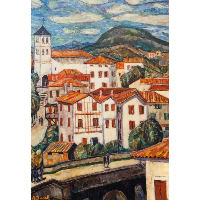 Vintage travel poster - A.Durel - 1959 - Pays Basque - 39.4 by 24.6 inches - 2