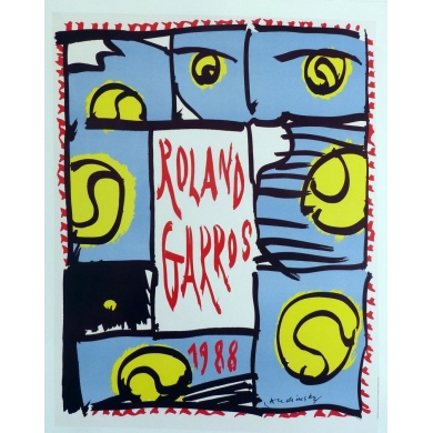 Affiche originale de Roland Garros 1988 par Pierre Alechinsky. Elbé Paris.