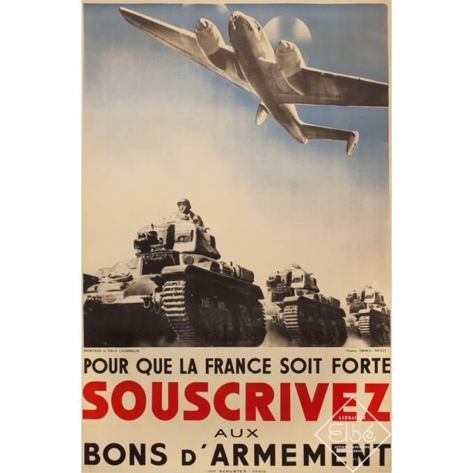 Affiche ancienne de publicité -  - 1939 - Pour Que La France Soit Forte Bons D'Armement - 118 par 78 cm