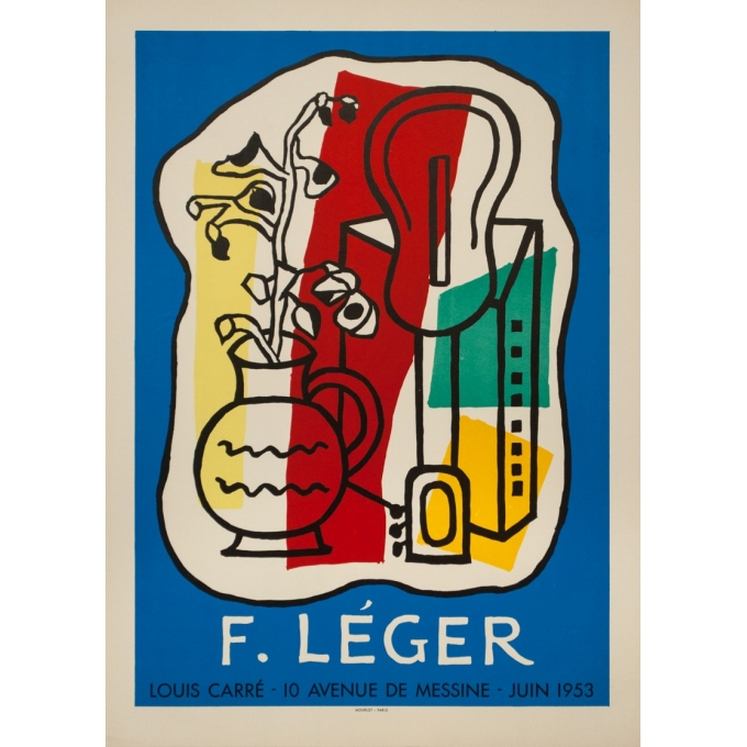 Vintage exhibition poster - Fernand Leger - 1953 - Exposition Galerie Louis Carré - 25.6 by 18.5 inches