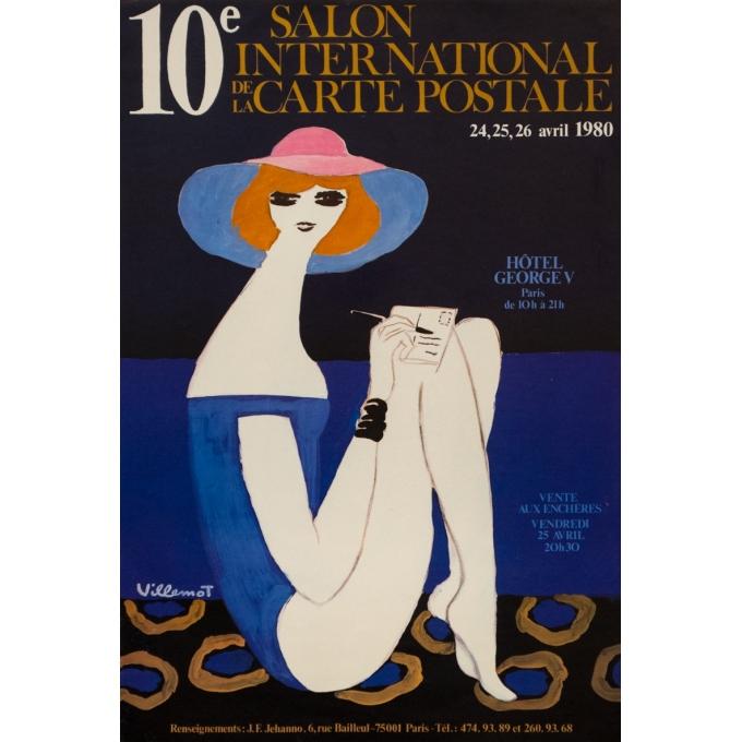 Affiche ancienne d'exposition - Villemot - 1980 - 10Eme Salon International De La Carte Postale - 60 par 40 cm