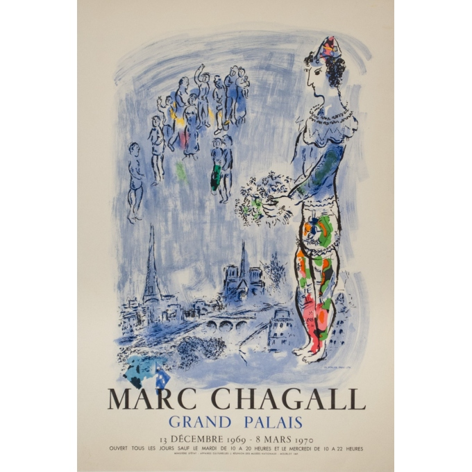 Vintage exhibition poster - Chagall - 1969 - Marc Chagall Grand Palais - 27.6 by 18.7 inches