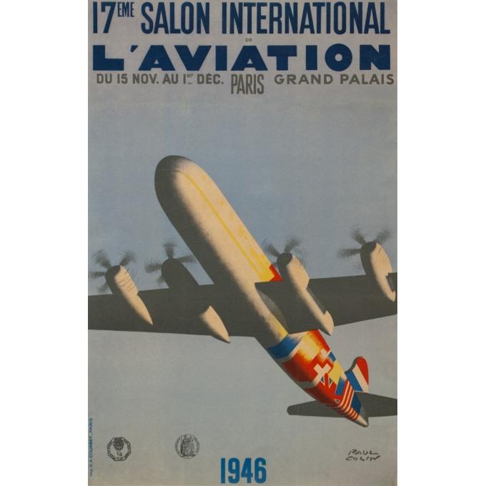 Affiche ancienne de publicité - Paul Colin - 1946 - Salon De L'Aviation Grand Palais - 62.5 par 37.5 cm