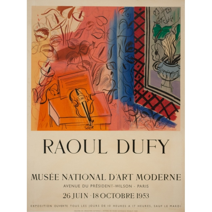Vintage exhibition poster - R.Dufy - 1953 - Musée National D'Art Moderne 1953 - 26.6 by 19.9 inches