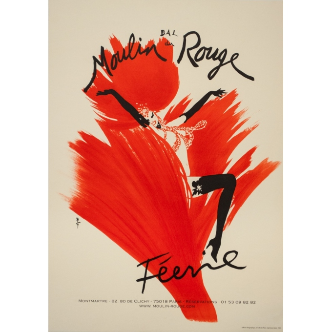 Vintage advertising poster - Gruau - Circa 1960 - Bal Du Moulin Rouge Féerie - 27.6 by 19.7 inches