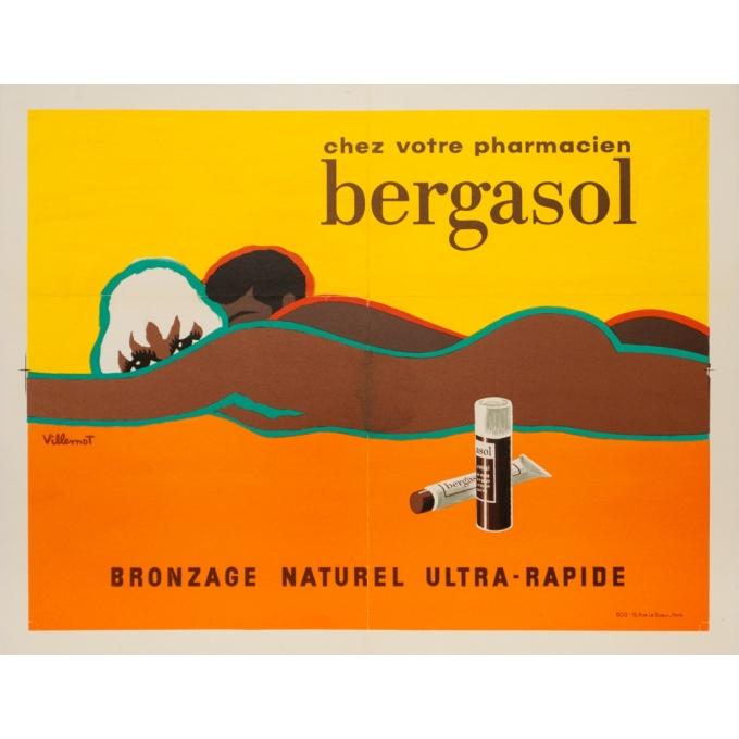 Vintage advertising poster - Villemot - Circa 1976 - Bergasol Bronzage - 16.3 by 21.3 inches
