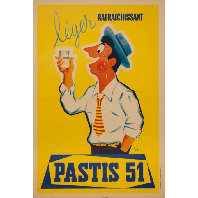 Vintage advertising poster - Pa Ly - Circa 1950 - Pastis 51 - 23.6 by 15.8 inches