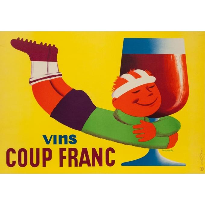 Affiche ancienne de publicité - Saint Geniès - Circa 1950 - Vins Coup Franc - 57 par 39.5 cm