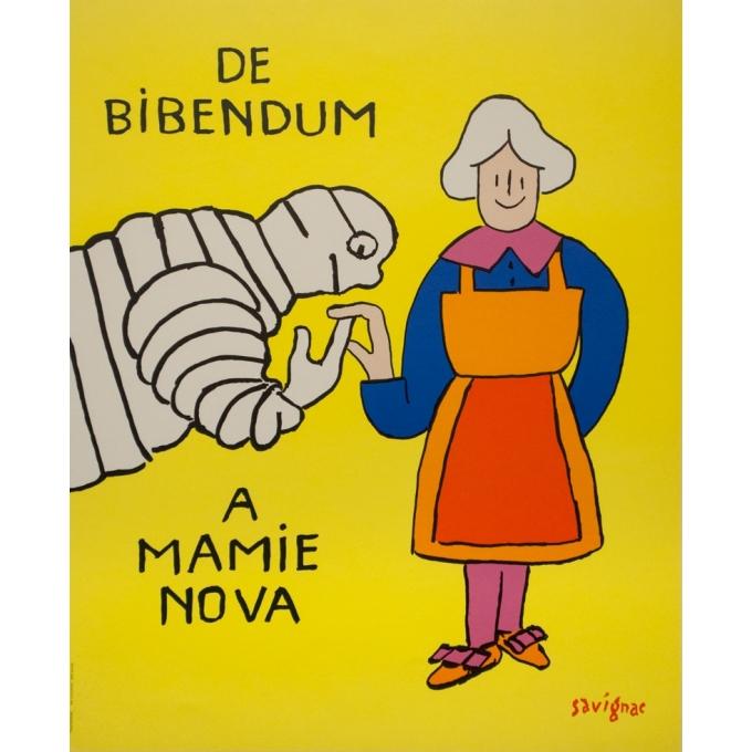 Affiche ancienne de publicité - Savignac - 1999 - De Bibendum A Mamie Nova - 60.5 par 49.5 cm