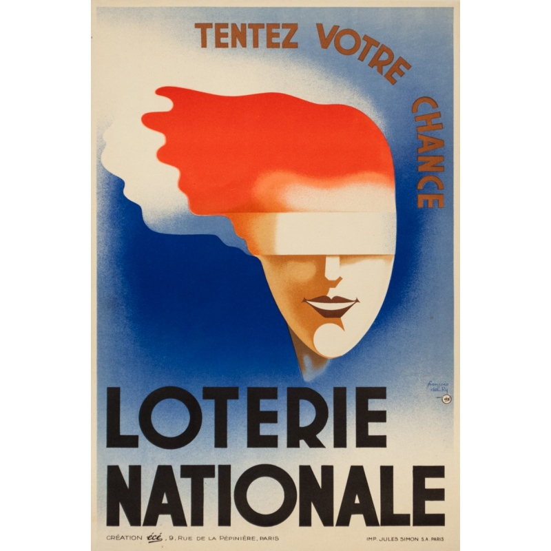 Vintage advertising poster Loterie Nationale by François ...