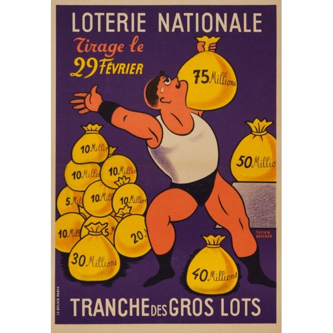 Affiche ancienne de publicité - Lucien Boucher - Circa 1959 - Loterie Nationale Tirage Du 29 Fevrier - 55 par 38.5 cm